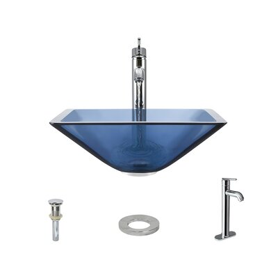 Glass Square Vessel Bathroom Sink with Faucet Sink Finish: Aqua, Faucet Finish: Chrome