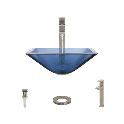 Glass Square Vessel Bathroom Sink with Faucet Sink Finish: Aqua, Faucet Finish: Brushed Nickel