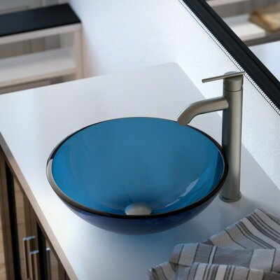 Glass Circular Vessel Bathroom Sink with Faucet Sink Finish: Aqua, Faucet Finish: Brushed Nickel