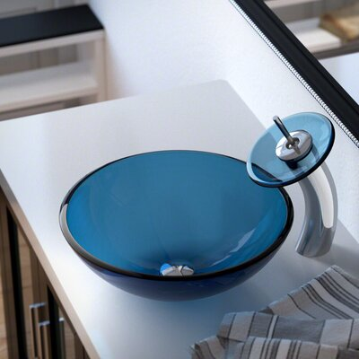Glass Circular Vessel Bathroom Sink with Faucet Sink Finish: Aqua, Faucet Finish: Chrome