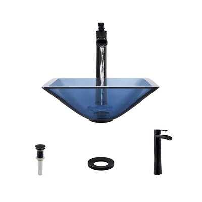Glass Square Vessel Bathroom Sink with Faucet Sink Finish: Aqua, Faucet Finish: Antique Rubbed Bronze