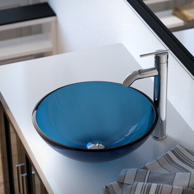Glass Circular Vessel Bathroom Sink with Faucet Sink Finish: Aqua, Faucet Finish: Chrome