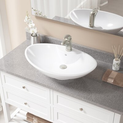 Vitreous China Oval Vessel Bathroom Sink with Faucet and Overflow Sink Finish: White, Faucet Finish: Brushed Nickel