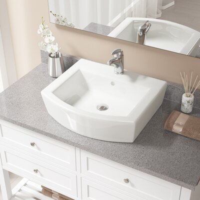 Specialty Vitreous China Specialty Vessel Bathroom Sink with Faucet and Overflow Sink Finish: Bisque, Faucet Finish: Chrome