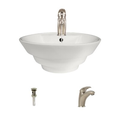 Vitreous China Circular Vessel Bathroom Sink with Faucet and Overflow Sink Finish: White, Faucet Finish: Antique Rubbed Bronze