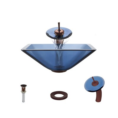 Glass Circular Vessel Bathroom Sink with Faucet Sink Finish: Aqua, Faucet Finish: Oil Rubbed Bronze