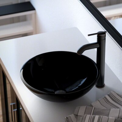 Glass Circular Vessel Bathroom Sink with Faucet Sink Finish: Black, Faucet Finish: Antique Rubbed Bronze