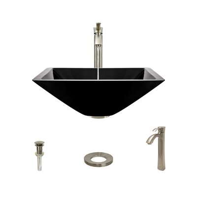 Glass Square Vessel Bathroom Sink with Faucet Sink Finish: Black, Faucet Finish: Brushed Nickel
