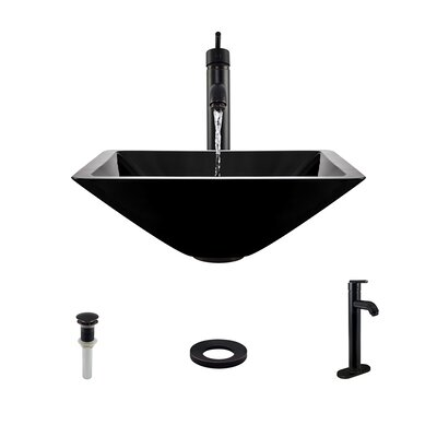 Glass Square Vessel Bathroom Sink with Faucet Sink Finish: Black, Faucet Finish: Antique Rubbed Bronze