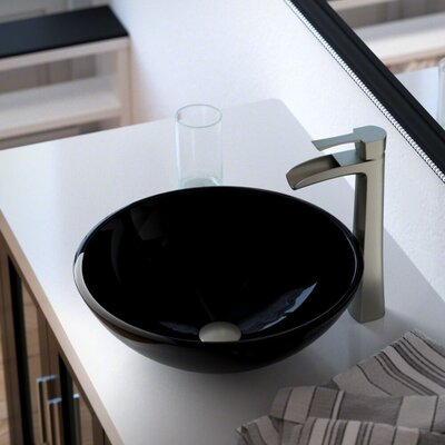 Glass Circular Vessel Bathroom Sink with Faucet Sink Finish: Black, Faucet Finish: Brushed Nickel