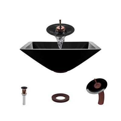 Glass Circular Vessel Bathroom Sink with Faucet Sink Finish: Black, Faucet Finish: Oil Rubbed Bronze