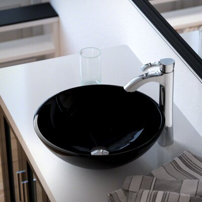 Glass Circular Vessel Bathroom Sink with Faucet Sink Finish: Black, Faucet Finish: Chrome