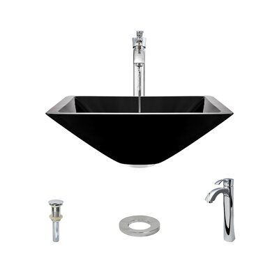 Glass Square Vessel Bathroom Sink with Faucet Sink Finish: Black, Faucet Finish: Chrome