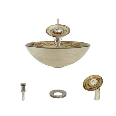 Swirl Foil Undertone Glass Circular Vessel Bathroom Sink with Faucet Faucet Finish: Brushed Nickel