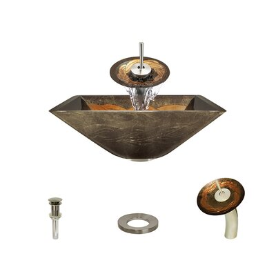 Foil Undertone Glass Square Vessel Bathroom Sink with Faucet Faucet Finish: Brushed Nickel