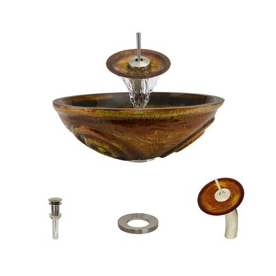 Hand Painted Glass Circular Vessel Bathroom Sink with Faucet Faucet Finish: Brushed Nickel