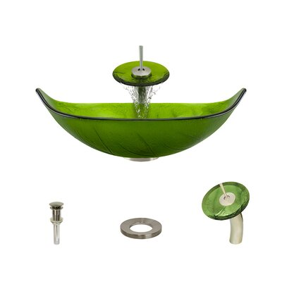 Leaf Glass Specialty Vessel Bathroom Sink with Faucet Faucet Finish: Brushed Nickel