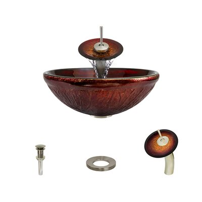 Red Lava Glass Circular Vessel Bathroom Sink with Faucet Faucet Finish: Brushed Nickel