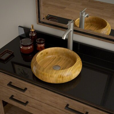 Circular Vessel Bathroom Sink with Faucet Faucet Finish: Brushed Nickel