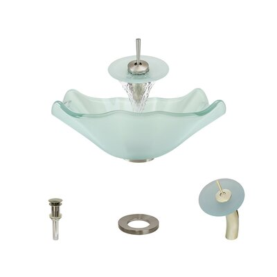 Frost Glass Specialty Vessel Bathroom Sink with Faucet Faucet Finish: Brushed Nickel