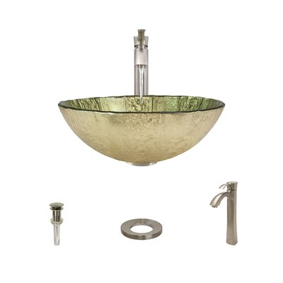 Gold Foil Glass Circular Vessel Bathroom Sink with Faucet Faucet Finish: Brushed Nickel