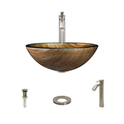 Foil Underlay Glass Circular Vessel Bathroom Sink with Faucet Faucet Finish: Brushed Nickel