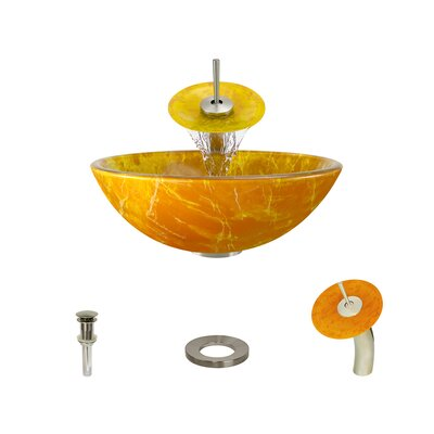 Double Layer Glass Circular Vessel Bathroom Sink with Faucet Faucet Finish: Brushed Nickel