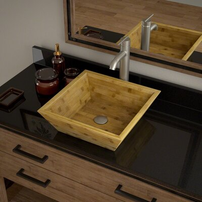 Square Vessel Bathroom Sink with Faucet Faucet Finish: Brushed Nickel