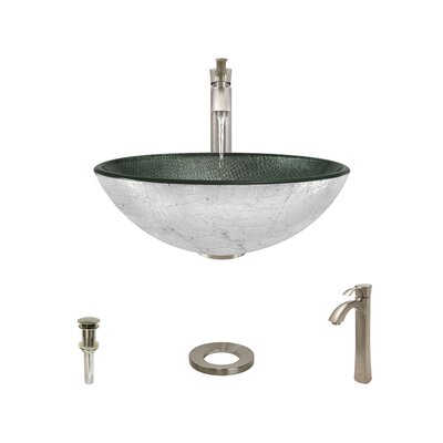 Mesh Glass Circular Vessel Bathroom Sink with Faucet Faucet Finish: Brushed Nickel