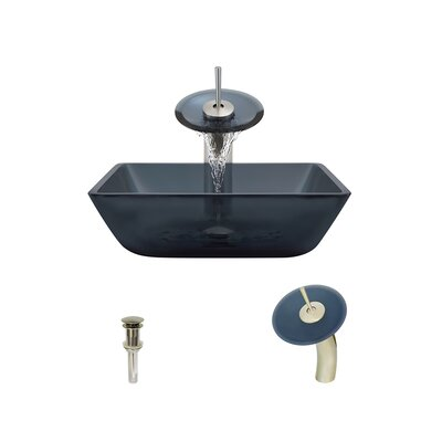Translucent Black Glass Square Vessel Bathroom Sink with Faucet Faucet Finish: Brushed Nickel