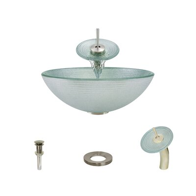 Iridescent Foil Undertone Glass Circular Vessel Bathroom Sink with Faucet Faucet Finish: Brushed Nickel
