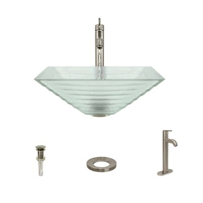 Tiered Glass Square Vessel Bathroom Sink with Faucet Faucet Finish: Brushed Nickel