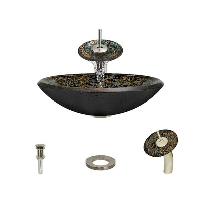 Hand-Painted Foil Undertone Glass Circular Vessel Bathroom Sink with Faucet Faucet Finish: Brushed Nickel