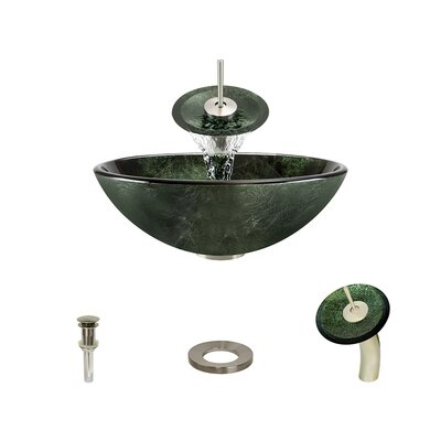 Forest Glass Circular Vessel Bathroom Sink with Faucet Faucet Finish: Brushed Nickel