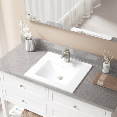 Vitreous China Rectangular Vessel Bathroom Sink with Faucet and Overflow Faucet Finish: Brushed Nickel