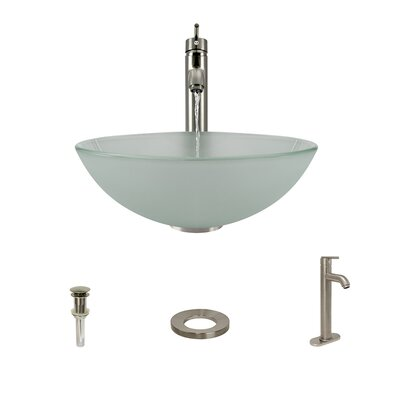 Glass Circular Vessel Bathroom Sink with Faucet Faucet Finish: Brushed Nickel