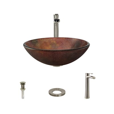 Frost Glass Circular Vessel Bathroom Sink with Faucet Faucet Finish: Brushed Nickel