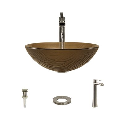 Beach Sand Glass Circular Vessel Bathroom Sink with Faucet Faucet Finish: Brushed Nickel