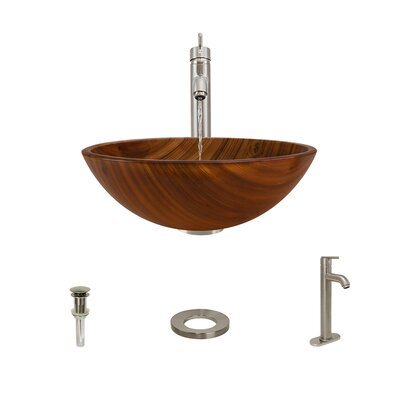 Wood Grain Glass Circular Vessel Bathroom Sink with Faucet Faucet Finish: Brushed Nickel