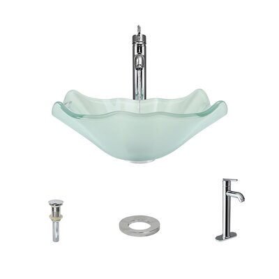 Frost Glass Specialty Vessel Bathroom Sink with Faucet Faucet Finish: Chrome