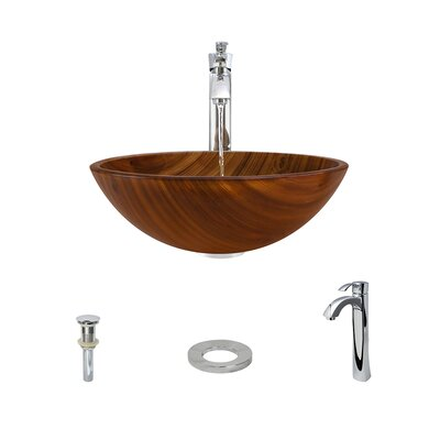 Wood Grain Glass Circular Vessel Bathroom Sink with Faucet Faucet Finish: Chrome
