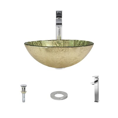 Gold Foil Glass Circular Vessel Bathroom Sink with Faucet Faucet Finish: Chrome