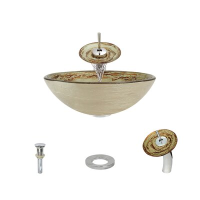 Swirl Foil Undertone Glass Circular Vessel Bathroom Sink with Faucet Faucet Finish: Chrome