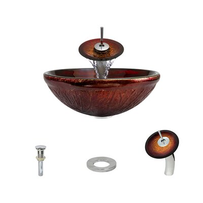 Red Lava Glass Circular Vessel Bathroom Sink with Faucet Faucet Finish: Chrome
