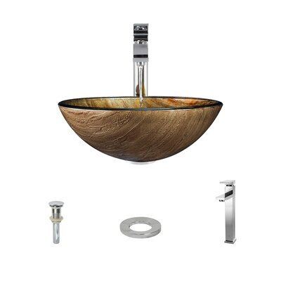 Foil Underlay Glass Circular Vessel Bathroom Sink with Faucet Faucet Finish: Chrome
