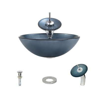Hand-Painted Glass Circular Vessel Bathroom Sink with Faucet Faucet Finish: Chrome