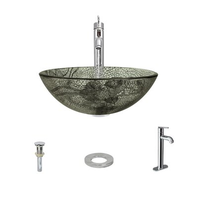Cracked Vineyard Glass Circular Vessel Bathroom Sink with Faucet Faucet Finish: Chrome