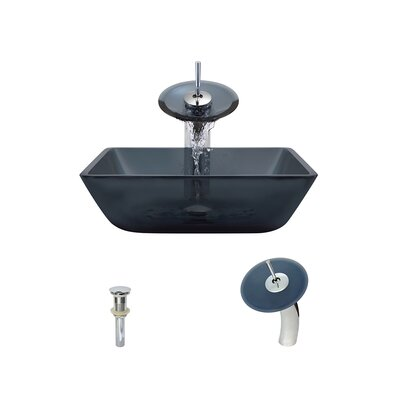 Translucent Black Glass Square Vessel Bathroom Sink with Faucet Faucet Finish: Chrome