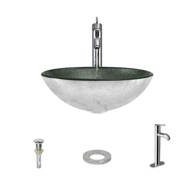 Mesh Glass Circular Vessel Bathroom Sink with Faucet Faucet Finish: Chrome