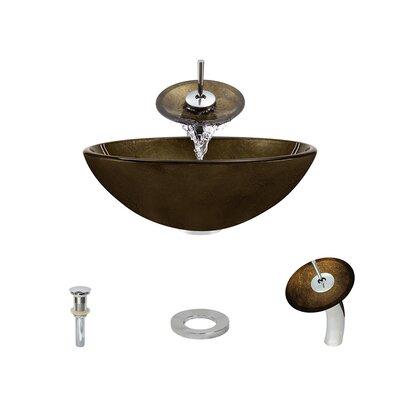Foil Undertone Glass Circular Vessel Bathroom Sink with Faucet Faucet Finish: Chrome